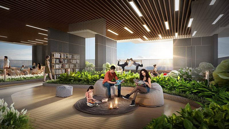 Khu sinh hoạt cộng đồng tọa lạc tại tầng 4 của dự án