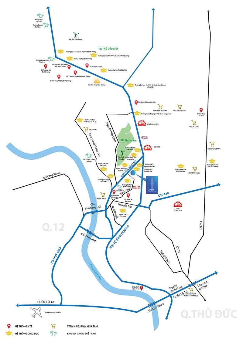 Dự án Opal Skyline nằm ngay trung tâm hành chính thành phố Thuận An